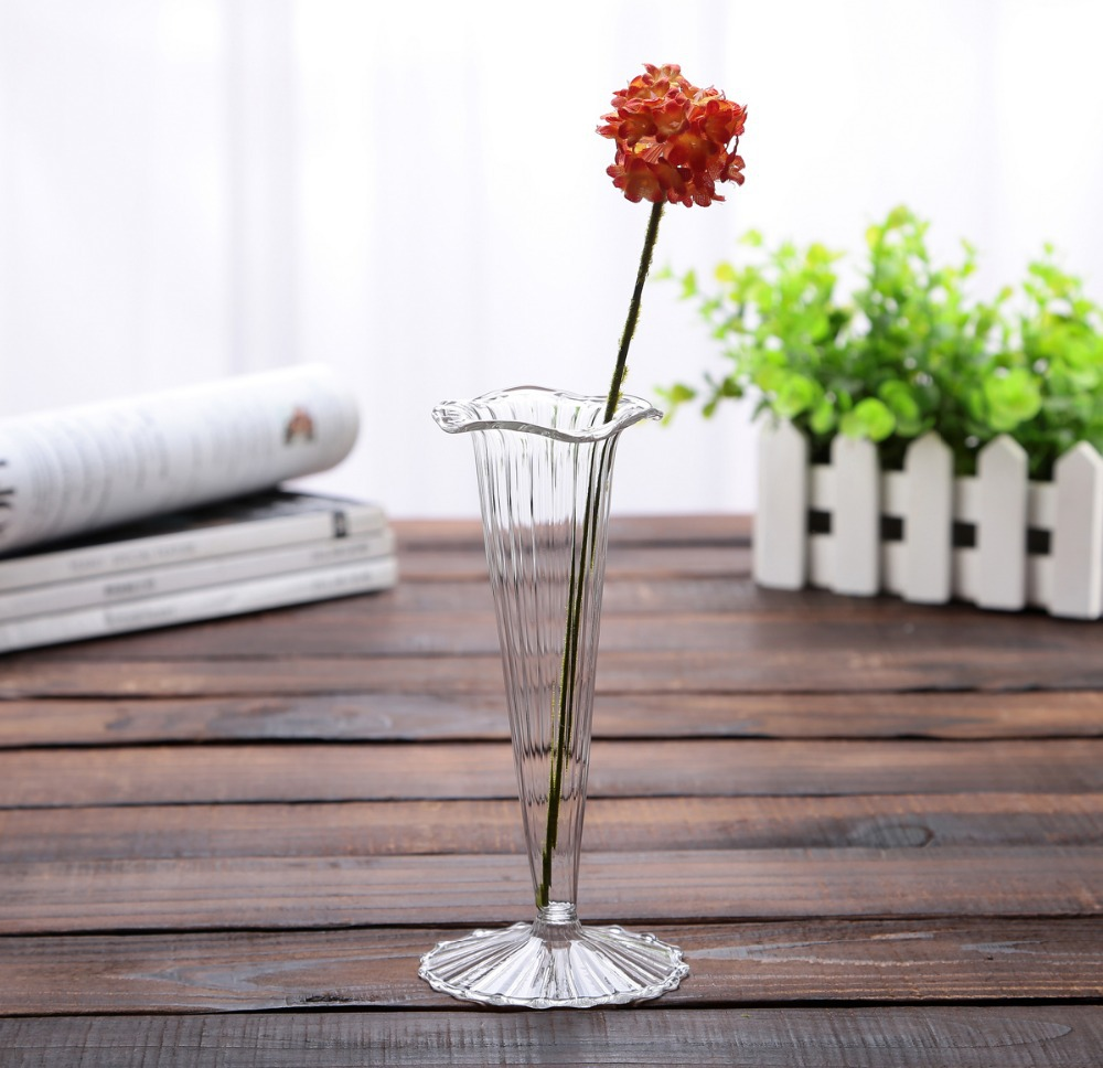 2015 new high stem glass vase floor glass vase wedding for Table centerpieces for home
