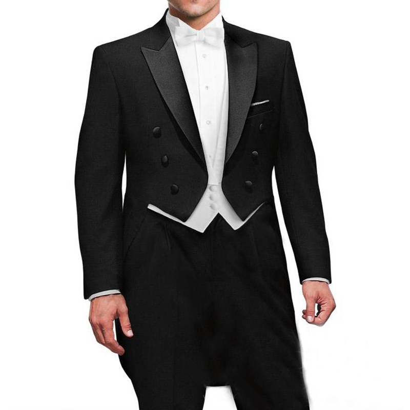 Black Wedding Groom Man Tail Coat With Double Breasted Gentleman Men Suits 3 Piece Set Custom Jacket White Vest Pants