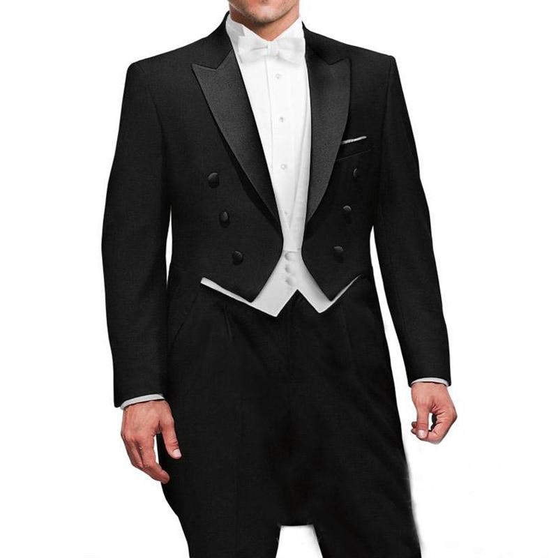 Black Wedding Groom Man Tail Coat With Double Breasted Gentleman Men Suits 3 Piece Set Custom Jacket White Vest Pants