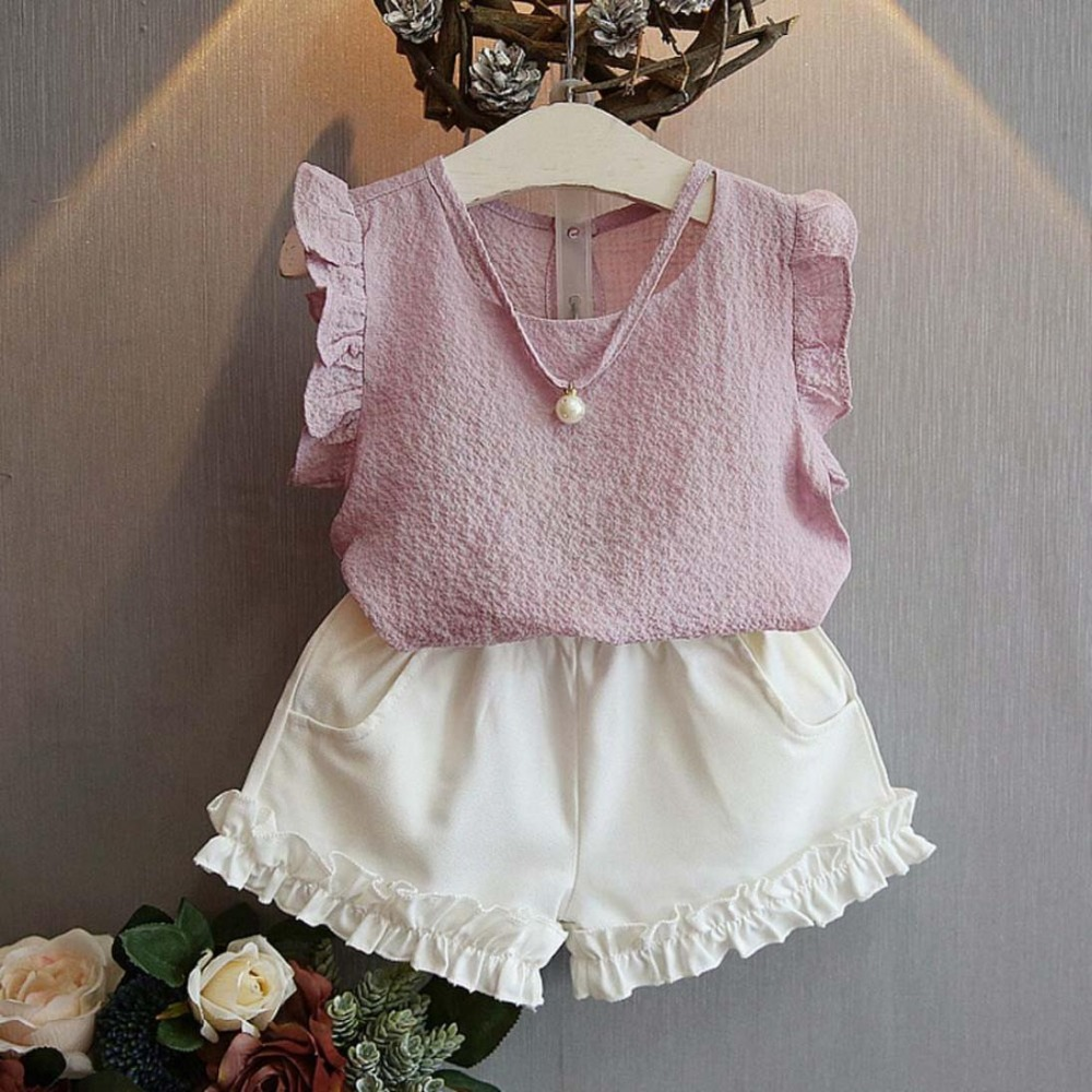 Toddler Baby Girl Flower T-Shirt Tops Shorts Pants 2PCS Summer Outfits Clothes Set