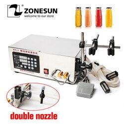 ZONESUN Semi-Automatic Double Heads Small Liquid Filling Machine Price Digital Control Alcohol