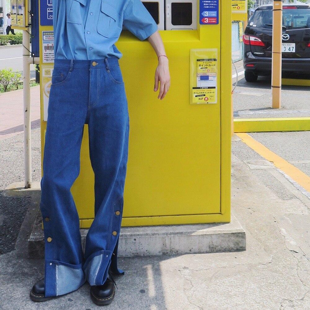 XS 2XL! Оригинальные мужские осенние и зимние брюки на заказ, свободные складные винтажные джинсы клеш