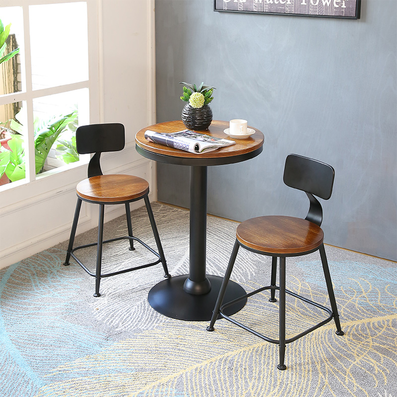 Modern Simple Bar Chair and Table PU and Iron Art Coffee Shop Luxurious Style High Stool Stool Desk Chair Set Dining Table Chair glass dinner table milk tea shop reception desk and chair small family dining table