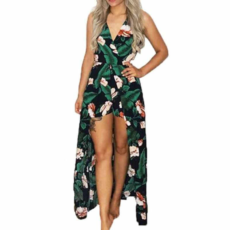 Wuhaobo Elegant Bodysuit Women Jumpsuit Romper Sexy Backless Flower Print Combishort  Femme Playsuit Summer Overalls Leotard 32812c9f4b8e