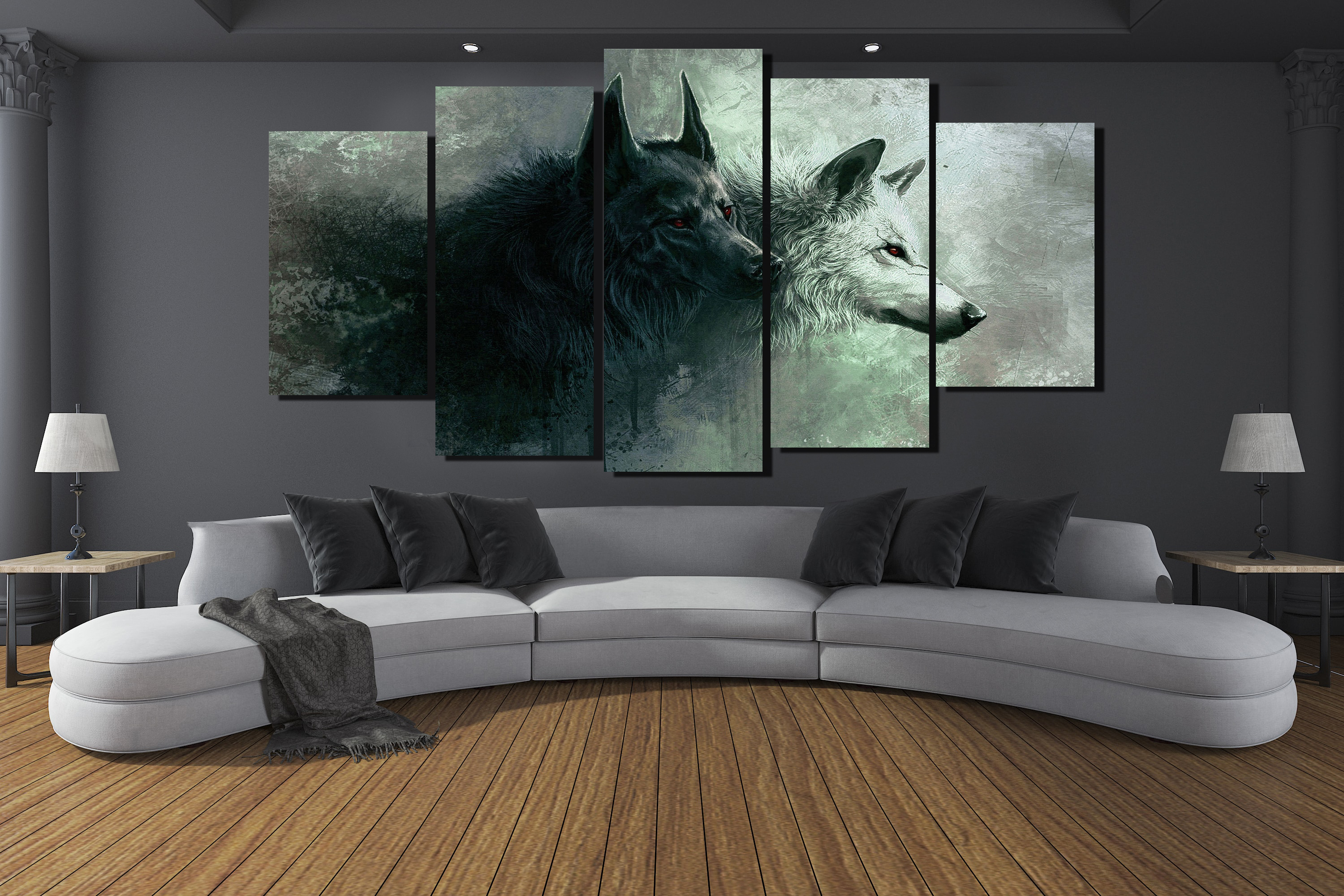 5 Panels Hd Printed Animal Two Wolf Painting Canvas Print