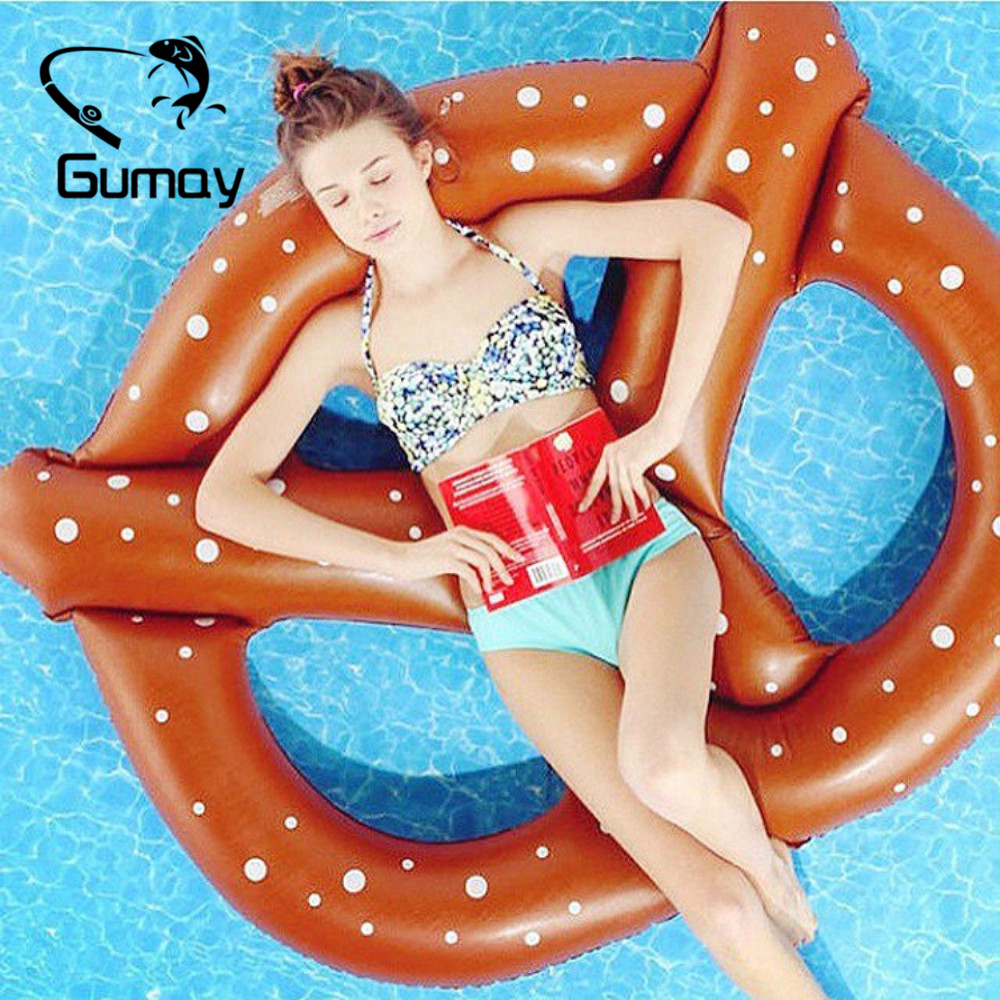 Gumay PVC Pool Floats Summer Pizza Donuts Design Pool Float Inflatable Donut Swimming Ring Floating Bed Lounge Water Raft
