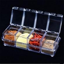 4PCS/Set Spice Jar Seasoning Can Sugar Bowl Transparent Colorful Lid Box Kitchen Tool Salt Condiment Cruet Storage