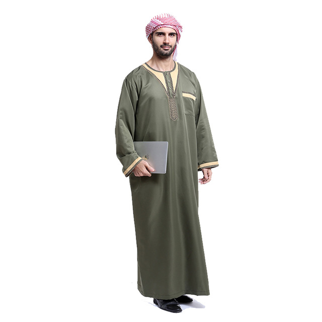 Fashion Muslim Men Arabic Jubba Thobe Islamic Clothing Musulman