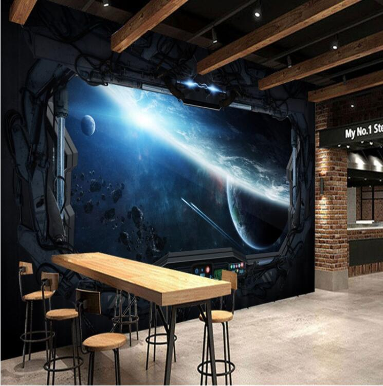 . US  8 99 50  OFF Photo Wallpaper 3D Stereo Restaurant Mural Internet Cafes  Wall Paper for Gaming Room Cosmic Space Cabin Spacecraft Moon Mural in