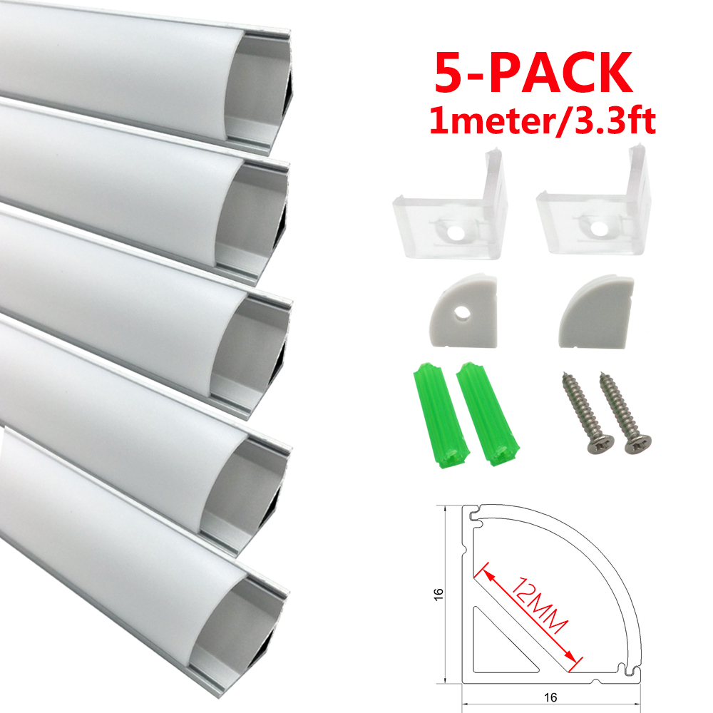 LED Aluminum Channel System with Curved Cover UnvarySam 5-Pack 3.3ft/1M 9x17mm Internal Width 12mm V-Shape LED Aluminum Profile