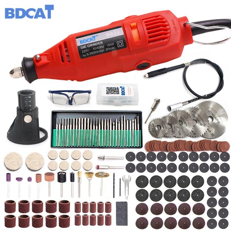 BDCAT 180 W eléctrico Dremel grabado Mini taladro pulido herramienta giratoria de velocidad Variable con 186 piezas unids herramientas eléctricas Accesorios