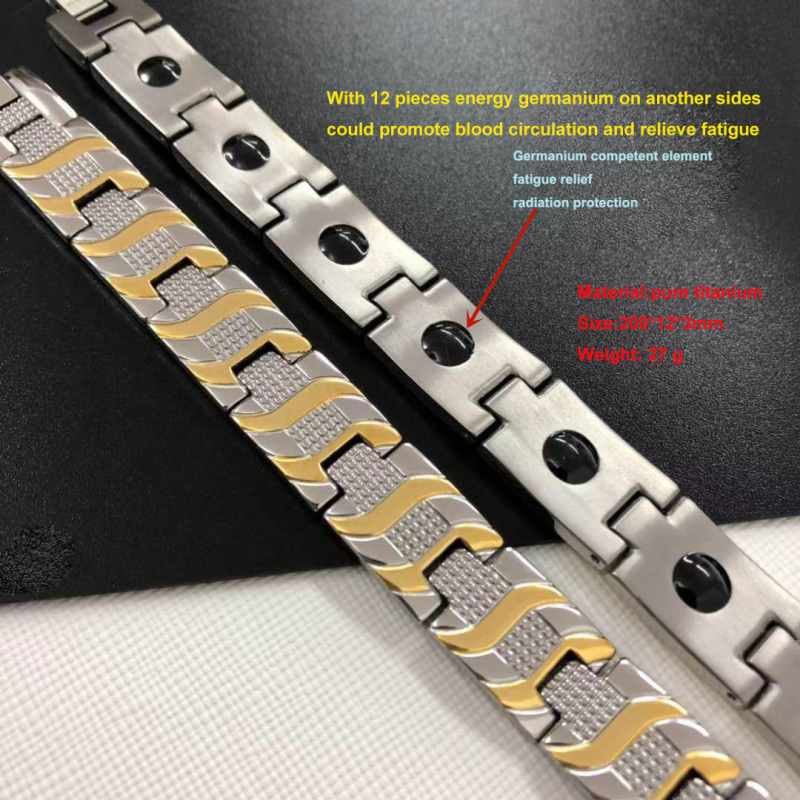 Bracelets en titane avec énergie germanium anti-rouille anti-allergie énergie négative ion anti-radiation anti-fatigue soulagement