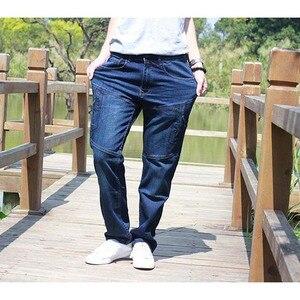 Image 5 - ICPANS Men Jeans Pants Stretch Straight Loose Black Cargo Denim Jeans Men Zipper 2019 New Big Size 40 42 44