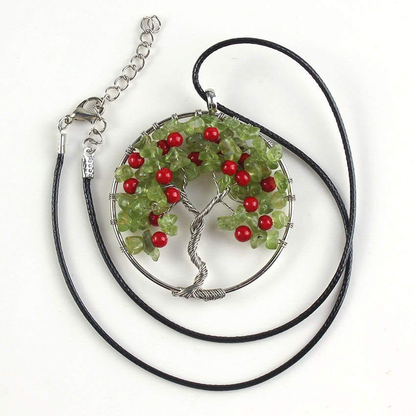 XSM Elegant Cherry Fruit Rope Chain Necklaces Red Round Beads Olivine Wire Wrapped Pendant Tree of Life Amulet Jewelry Gifts image