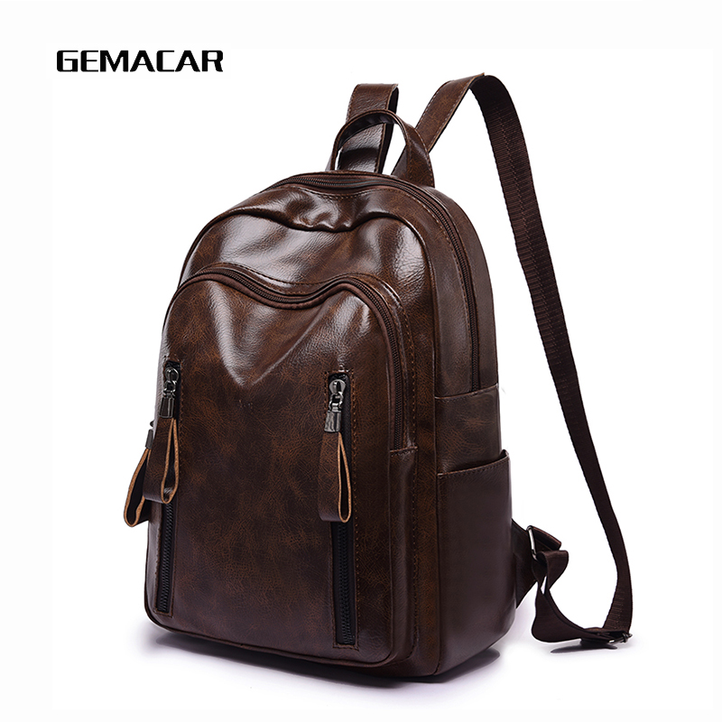Simple Waterproof Backpack Ladies PU Leather Young Female Retro Black Brown Casual Lady Knapsack
