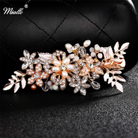 Gold Planted Leaf Crystal Pearl Imitation Rhinestones Bridal Hair Combs Tiara Wedding Hair Accessories Hair Jewelry