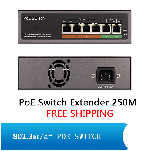 6 port switch with 4 ports PoE (10 port switch 8 ports PoE) Switch 100M IEEE802.3at af Standard for DH Hikvision IP Camera