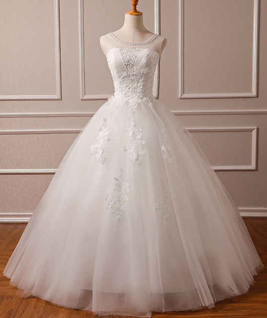 Sequined Lace Beads Appliques Luxury Wedding Dresses For Bride