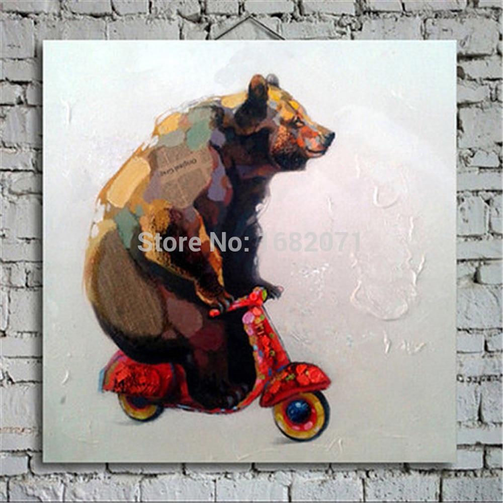 Wholesale Handmade Unique Design Brown Bear Oil Painting