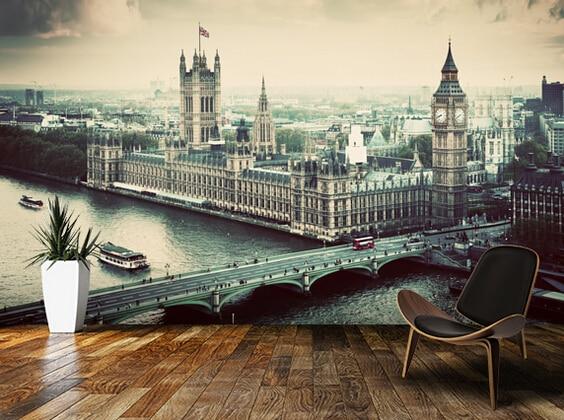 3d Wallpaper For Living Room Wall Aliexpress Com Buy Custom Retro Wallpaper London
