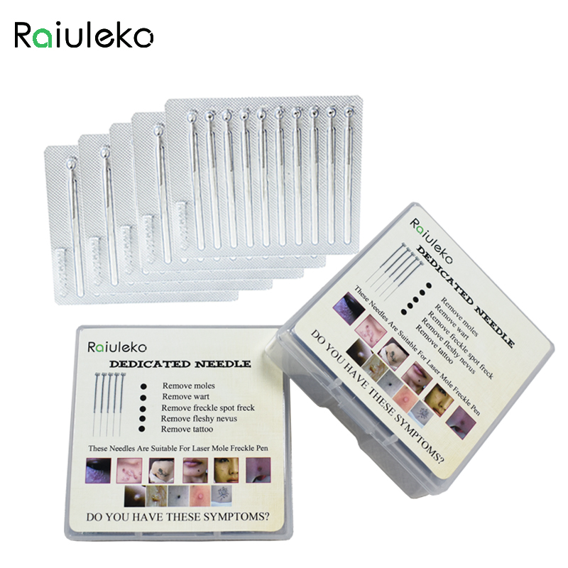 10 pack = 100 Pcs Laser Freckle Removal Machine Skin Mole Removal Dark Spot Remover Dedicated needle for Face Wart Tag Tattoo