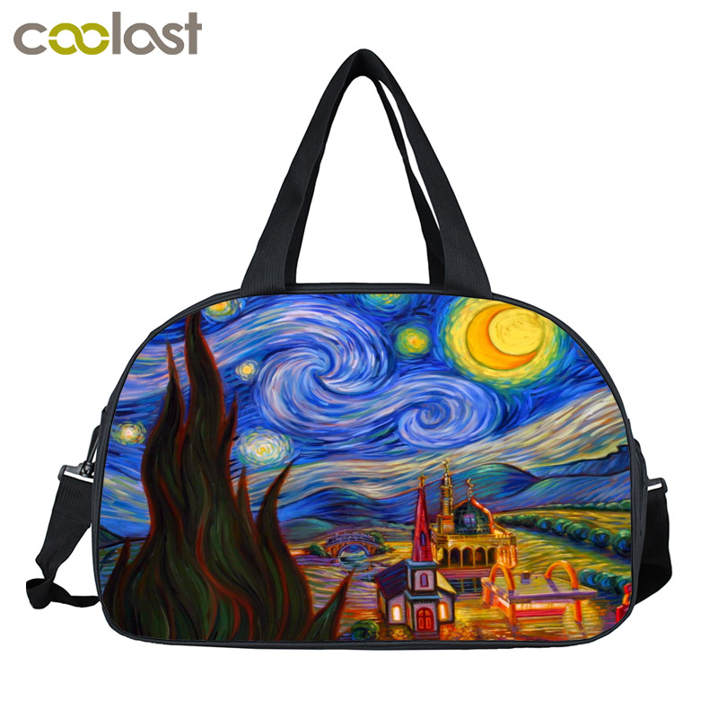 Oil Painting Landscape Starry Night Travel Bag Women Handbags Waterproof Nylon Men Travel Bag Luggage Shoes Holder Duffle Bags