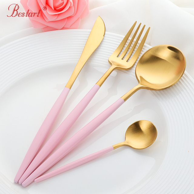 1lot/24 pcs Luxury Pink Gold Cutlery Set Food Stainless Steel Table ...