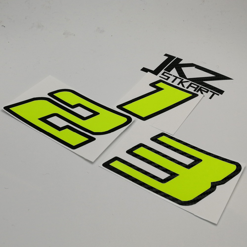 JKZ STKART Vinyl Die Cut Double-layer Number Neon Fluorescent <font><b>Sticker</b></font> For Car Motor <font><b>Bike</b></font> Truck Laptop Helmet image
