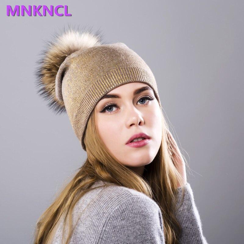 2017 New Bronzing Raccoon Fur Pompon Hat For Women Winter Knitting Warm Hats Female Skullies Beanies new soft true raccoon fur dismountable mao mao qiu wool cap female winter thickening warm knitting hat