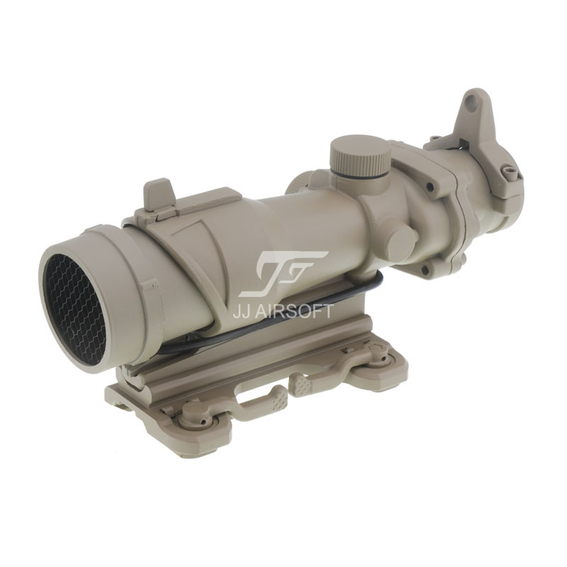 лучшая цена JJ Airsoft ACOG Style 4x32 Scope with QD Mount & Killflash / Kill Flash (Tan) FREE SHIPPING