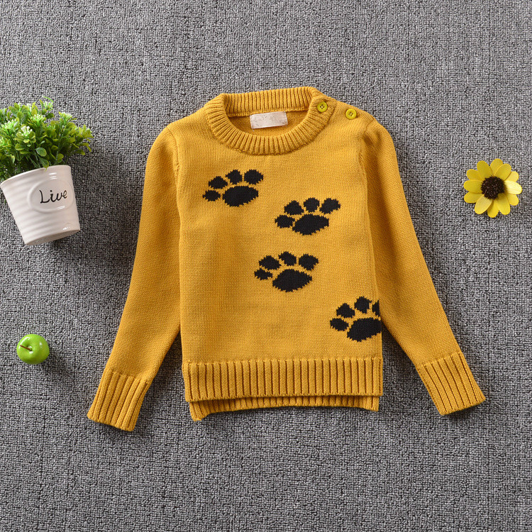 2017 Autumn Winter Thick Warm Baby Boy Girl Sweater Stylish Yellow Long Sleeve Cute Puppy Dogs Paws Pullover Jumpers Knitwear