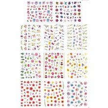 11 упаковок/набор, дизайн ногтей, 3D имитация, клейкая наклейка для ногтей, вишневый цвет, хризантема, лаванда, E633-643