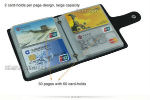 Image 5 - 100% Genuine Leather Credit Card Holder Men Card ID Holder Case Women Business Card Holder Large capacity with 60 Slots MC 902