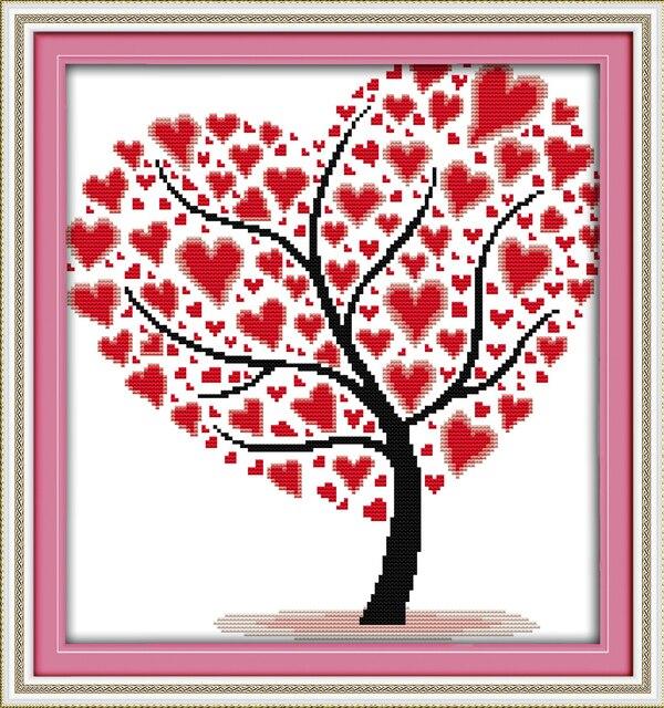 árbol De Amor 3 Cruz Puntada Kit Personas Dibujos Animados Planta