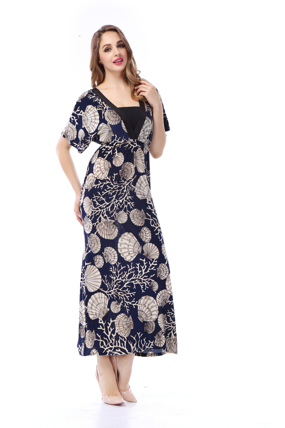 Summer Style Maxi Dress 2015 New Fashion Women Party Long Dresses Print V Neck Casual Vintage