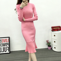 Solid Knitted Party Dress Vestidos Slim Color Office Dress Female Womens Business Suits Autumn Bodycon Dress
