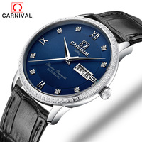 Minimalist Design Switzerland Watches Carnival Luxury Brand Leather Watch 2017 New Men Business Automatic Mechanical Watches