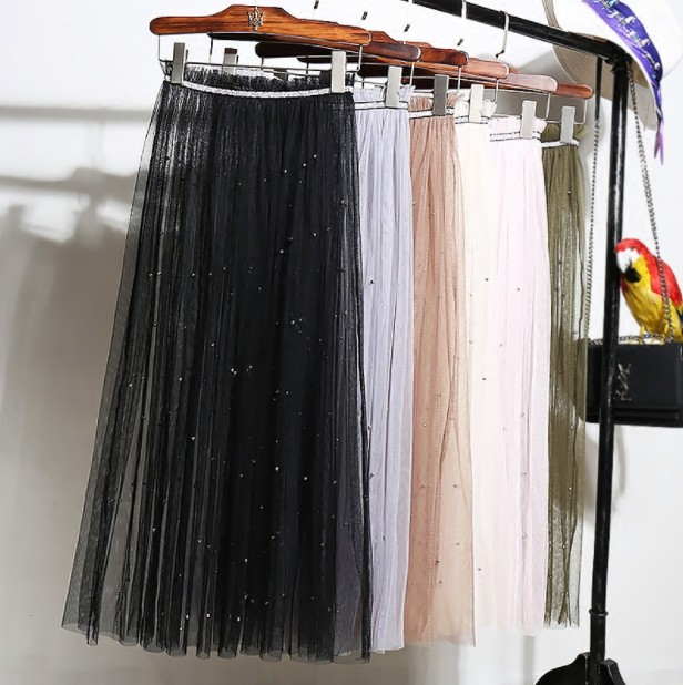Summer Women Pleated Skirt Sexy Lace mesh Transparent Skirts Casual Tulle Beading High Waist mesh tulle Black Long Skirt 159
