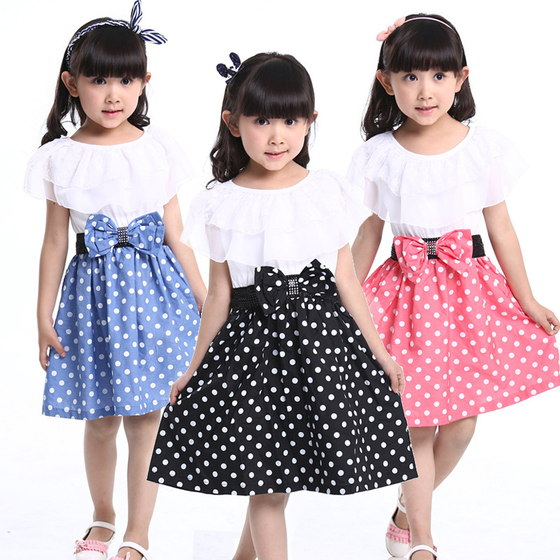 Children Clothing 12 Years Summer Girl Dress Princess Casual Lace Layered Dot Dress 2016 New Kids Dresses for Girls Toddler