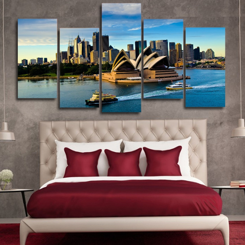 Modular-Wall-Art-Poster-Frame-Room-Home-Decor-Canvas-Pictures-5-Pieces-Sydney-Opera-House-Building (1)