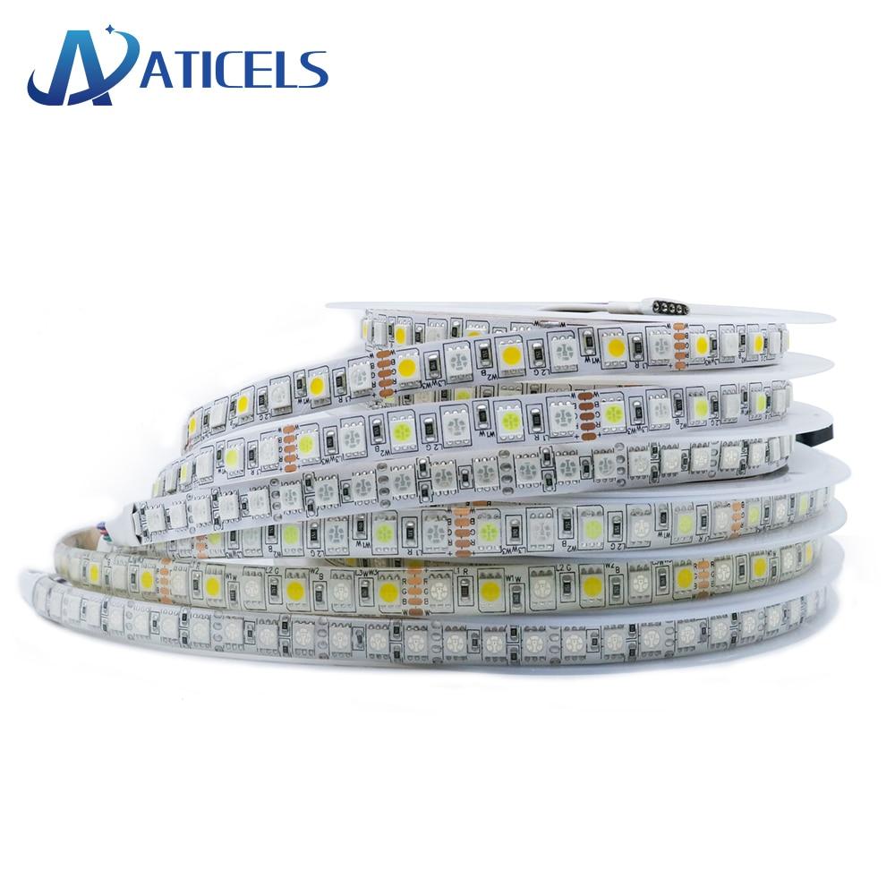 Tira de led 5050 rgb 120leds 5m, dc12v rgbww 96leds/m super brilhante flexível tira de luz de led ip20/ip65