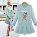 Fat Queen Maternity Pregnant women autumn and winter cotton dress sweater dress printing 200 pounds of deer
