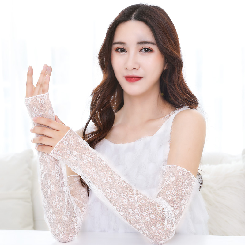 Elegant Women Cooling Arm Long Sleeves Summer 2019 Flower Lace Mesh Sun Protection Female Outdoor Sport Arm Cover Manga Blanca