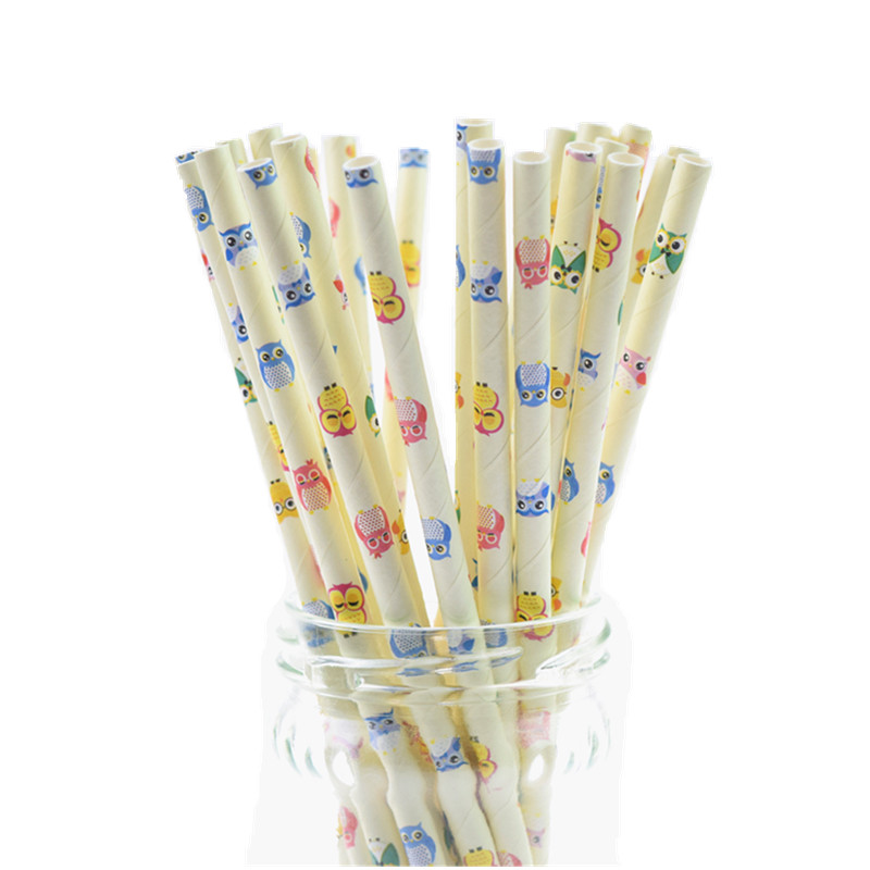 500pcs Owl Paper Straws Kids Birthday Party Wedding Decor Bridal Shower Hawaiian Jungle Luau Chevron Drinking DIY