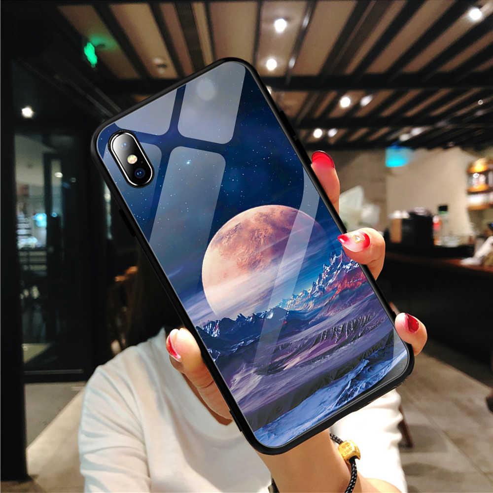 Чехол для iPhone XS Max XR X 8 силиконовый чехол Slim назад закаленное Стекло Звездное небо для iPhone 8 7 плюс 6 6s 8 Plus чехлы крышка Капа