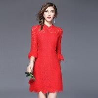 New Arrivals Phụ Nữ Ăn Mặc Evening Đảng Gowns Red Color Voan Ren Dresses Elegant Ladies Quần Áo ssd019