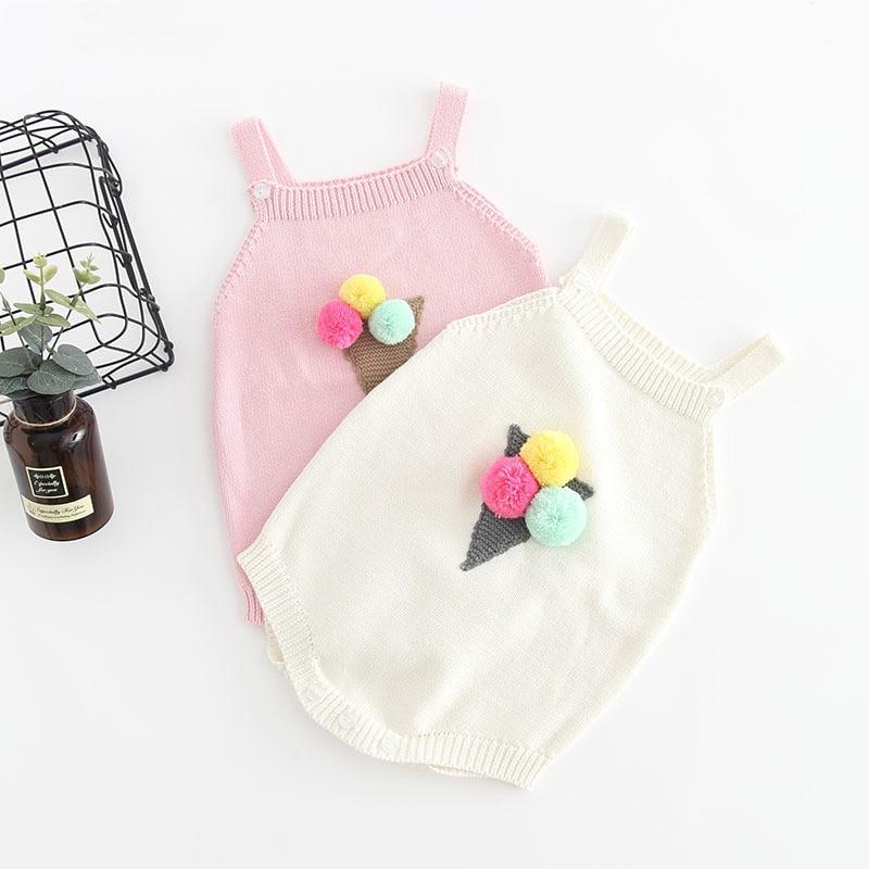 Gestrickte Baby Kleidung Neugeborenen Baby Strampler 100% Baumwolle Eis Pompom Infant Baby Mädchen Junge Romper Infant Baby Overall Onesie