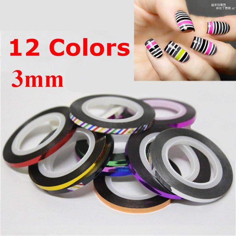 Nail Art Tape Strips: 1 Pcs 3mm New Nail Rolls Striping Tape Line Metallic Nail