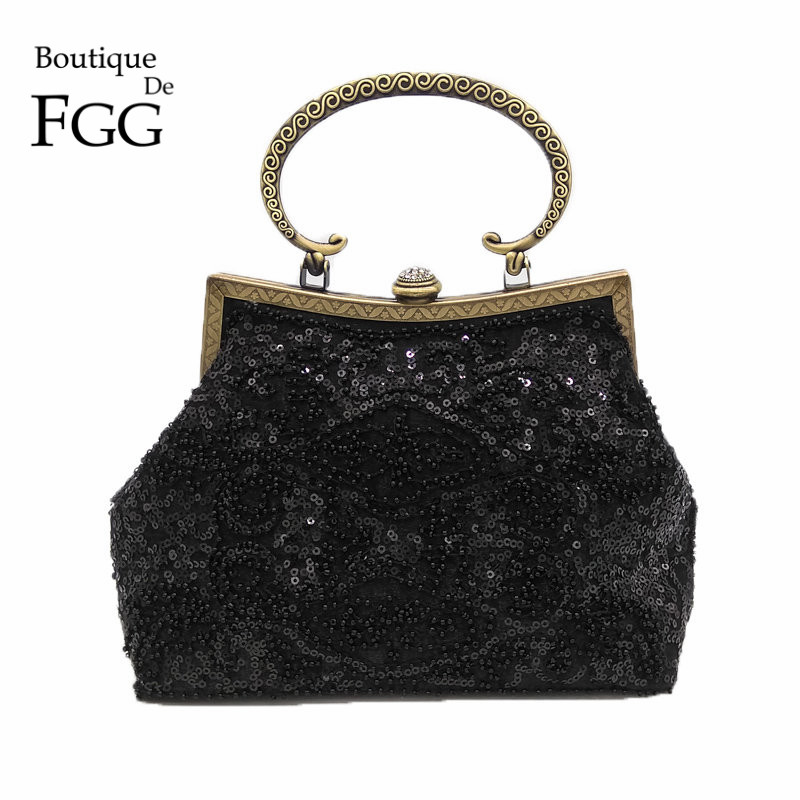 Bronze Plated Frame Women Black Sequined Evening Totes Bag Vintage Beaded Wedding Clutch Bridal Handbags Purses Metal Clutches luxury crystal clutch handbag women evening bag wedding party purses banquet