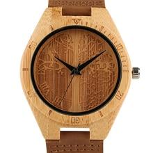 23fcdb09671 Artesanal de Bambu Natural Relógio Novel Árvore Da Vida Padrão de Exibição  relógio de Pulso Pulseira de Couro Genuíno Das Mulher.